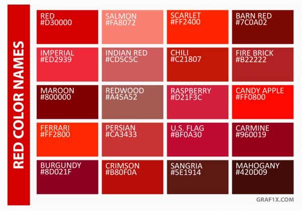 اسامی رنگ های قرمز به انگلیسی
